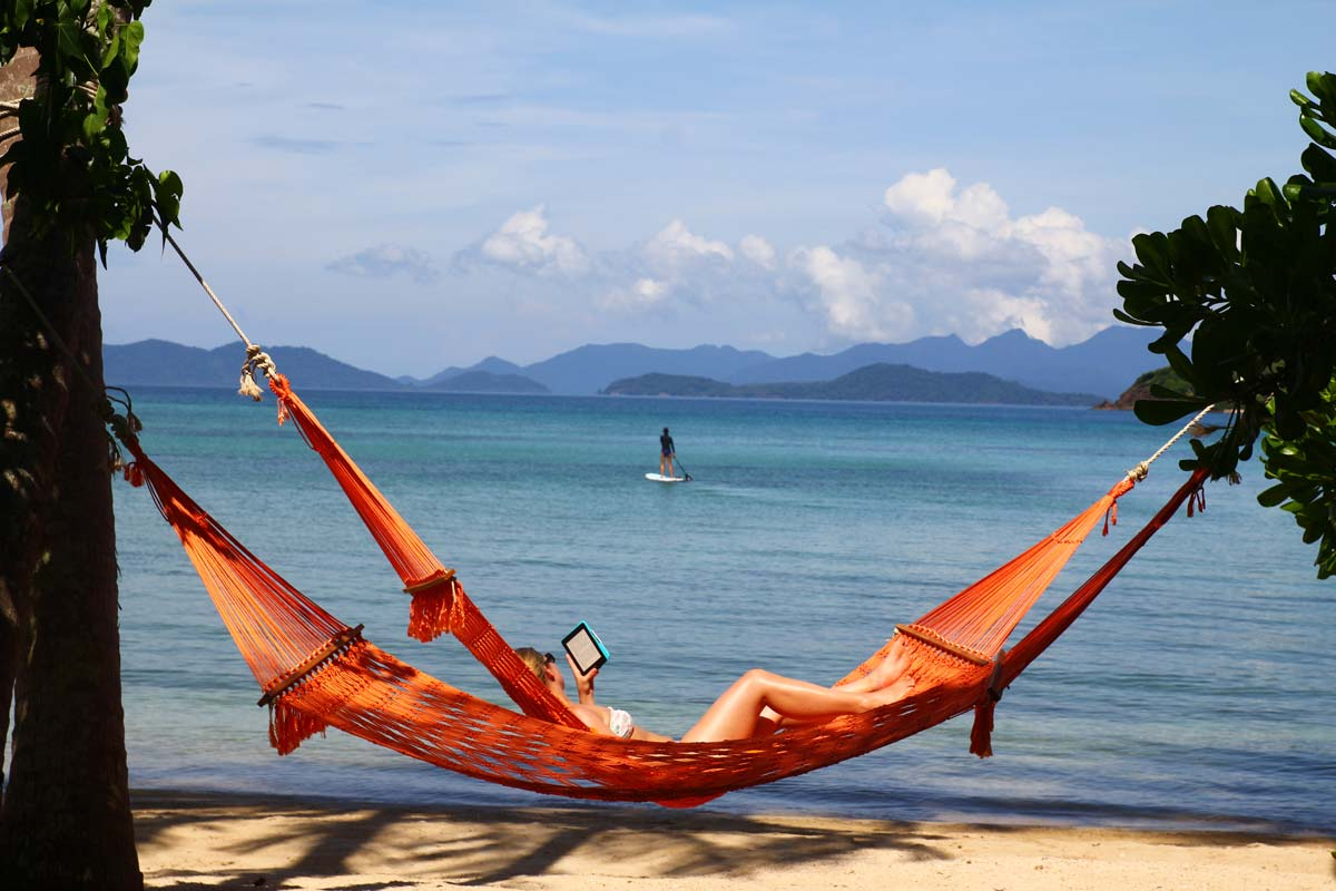 Koh Mak chillaxing in hammocks on the beach